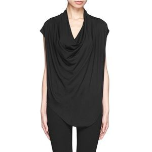 HELMUT LANG black Feather draped jersey tee